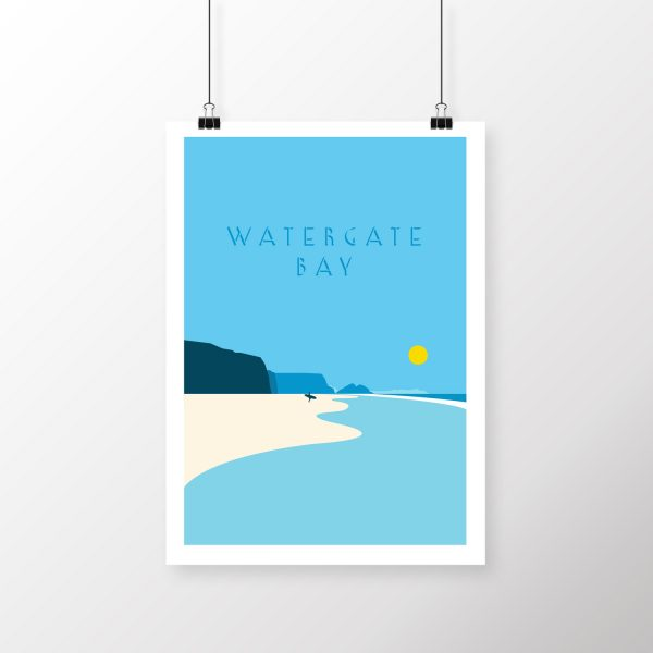 Watergate Bay art print | Cornwall beach print