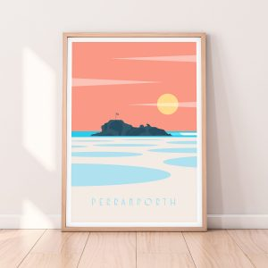 Perranporth beach print cornwall