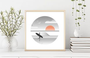 Retro Surf Print of a surfer and waves and sunset