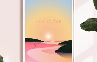Crantock beach Sunset Print Newquay Print Cornwall Travel Poster