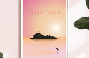 Perranporth Beach Print featuring a sunset over chapel rock.