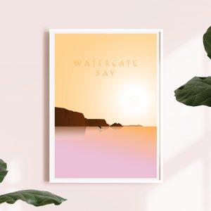 Watergate Bay sunset beach art print | Cornwall beach print
