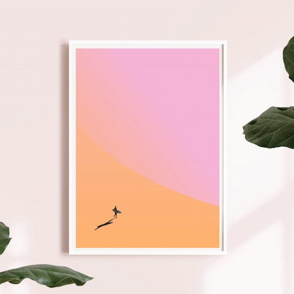 Surf Art Cornwall | Silhouette Surfer Print | Cornwall Art